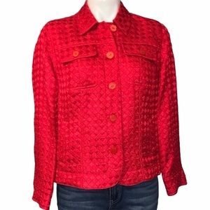 Red Quilted Blazer Jacket